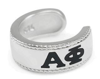 Alpha Phi Sterling Silver Ear Cuff with Black Enamel Greek letters