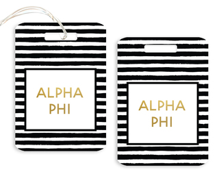 Alpha Phi Striped Gold Luggage Tag