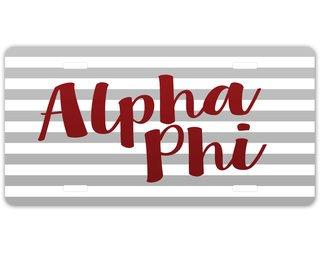 Alpha Phi Striped License Plate