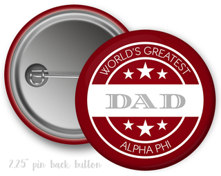 Alpha Phi World's Greatest Dad Button