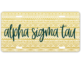 Alpha Sigma Tau Aztec License Plate