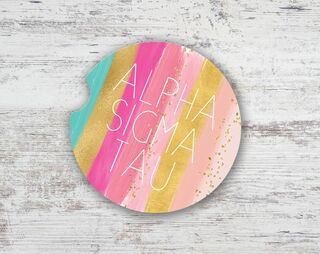 Alpha Sigma Tau Bright Stripes Sandstone Car Cup Holder Coaster