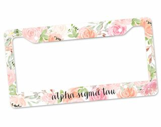 Alpha Sigma Tau Floral License Plate Frame