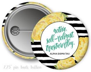 Alpha Sigma Tau Floral Motto Button