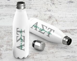 Alpha Sigma Tau Letters Stainless Steel Water Bottle
