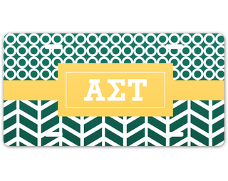 Alpha Sigma Tau Geometric License Plate