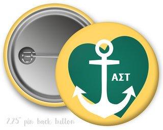Alpha Sigma Tau Heart Mascot Button