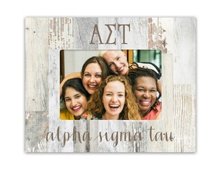 Alpha Sigma Tau Letters Barnwood Picture Frame