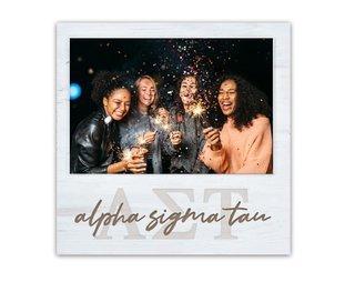 Alpha Sigma Tau Letters Script Block Picture Frame