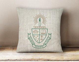 Alpha Sigma Tau Linen Crest - Shield Pillow