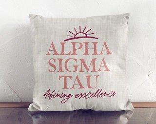 Alpha Sigma Tau Linen Sun Pillow