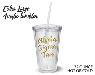 Alpha Sigma Tau Metallic Gold XL Tumbler