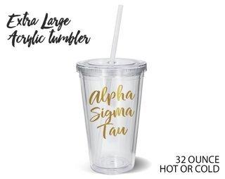 Alpha Sigma Tau Metallic Gold XL Tumbler