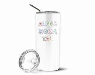 Alpha Sigma Tau Pastel Letters Outline Stainless Tumbler