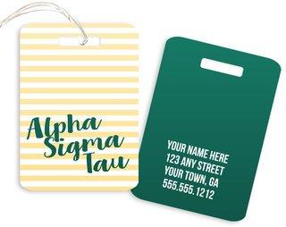 Alpha Sigma Tau Personalized Striped Luggage Tag