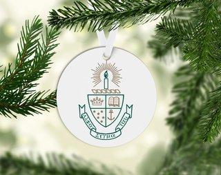 Alpha Sigma Tau Round Acrylic Crest - Shield Ornament