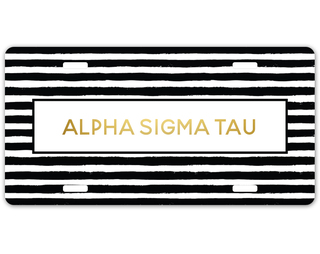 Alpha Sigma Tau Striped Gold License Plate