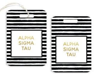 Alpha Sigma Tau Striped Gold Luggage Tag