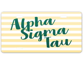 Alpha Sigma Tau Striped License Plate