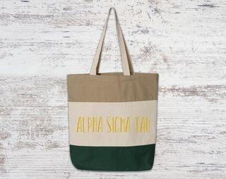 Alpha Sigma Tau Tri Color Tote Bag