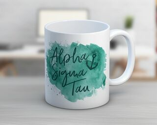 Alpha Sigma Tau Watercolor Script Coffee Mug