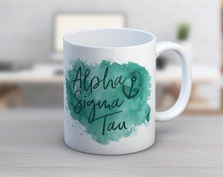 Alpha Sigma Tau Watercolor Script Coffee Mug