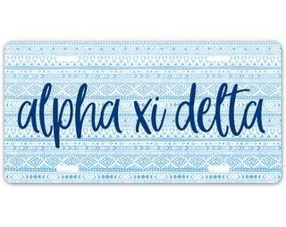 Alpha Xi Delta Aztec License Plate