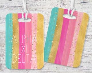 Alpha Xi Delta Bright Stripes Luggage Tag