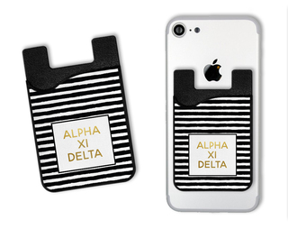 Alpha Xi Delta Gold Stripes Caddy Phone Wallet