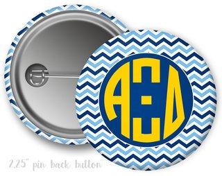 Alpha Xi Delta Chevron Monogram Button