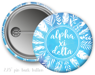 Alpha Xi Delta Feathers Button