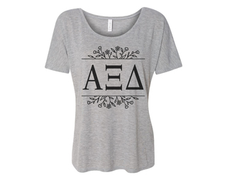 Alpha Xi Delta Floral Letters Flowy Tee