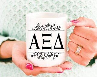 Alpha Xi Delta Floral Letters Mug