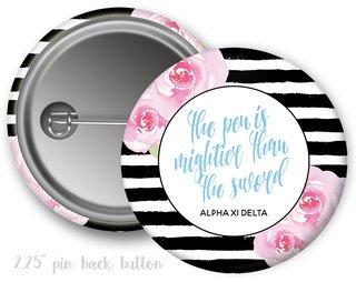 Alpha Xi Delta Floral Motto Button