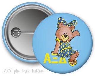 Alpha Xi Delta Mascot Bear Button
