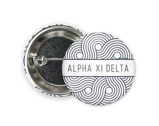 Alpha Xi Delta Geo Scroll Button Pin