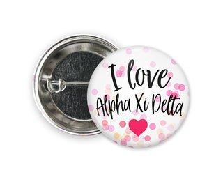Alpha Xi Delta I Love Heart Bursting Button