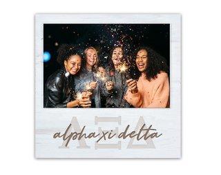 Alpha Xi Delta Letters Script Block Picture Frame