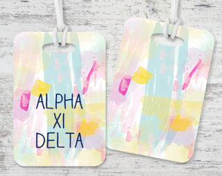 Alpha Xi Delta Watercolor Luggage Tag