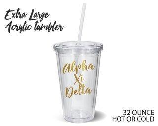 Alpha Xi Delta Metallic Gold XL Tumbler