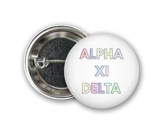 Alpha Xi Delta Pastel Letter Button
