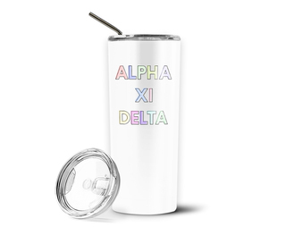 Alpha Xi Delta Pastel Letters Outline Stainless Tumbler