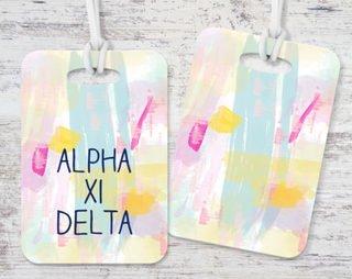 Alpha Xi Delta Pastel Strokes Luggage Tag