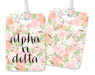 Alpha Xi Delta Personalized Pink Floral Luggage Tag