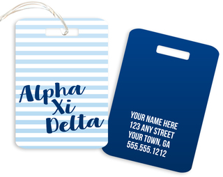 Alpha Xi Delta Personalized Striped Luggage Tag