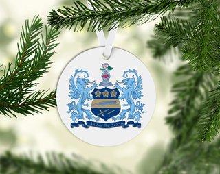 Alpha Xi Delta Round Acrylic Crest - Shield Ornament