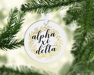 Alpha Xi Delta Round Acrylic Gold Wreath Ornament