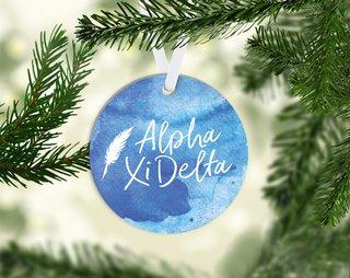 Alpha Xi Delta Round Acrylic Watercolor Ornament