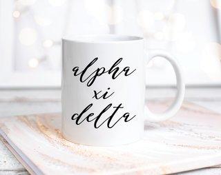Alpha Xi Delta Script Mug
