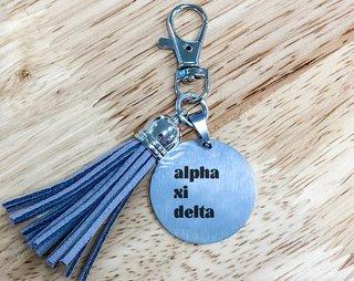 Alpha Xi Delta Stainless Tassel Keychain